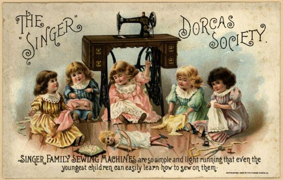 Singer sewing machines ad card 1895 - The Singer Dorcas Society
