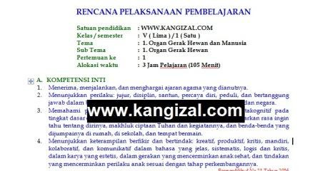 RPP Kelas 5 Kurikulum 2013 Terbaru Revisi 2019 2020 (Tema 1) www.kangizal.com