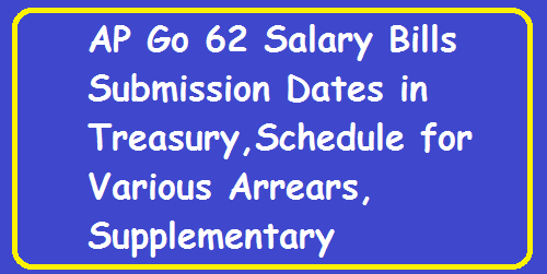 AP Go 62 Salary Bills Submission Dates in Treasury. GO 62 Bills Presentation Dates in Treasury Salary Supplementary Bills, Arrear bills and Salary Bills Schedule. Government has carefully reviewed the existing schedule for presentation of bills by the Drawing and Disbursing Officers (DDO) to the Treasury. Govt. has decided to revise the schedule for presentation of bills and payment to the authorized vendors, clients, employees and other recipients with effect from May 01, 2016/2016/04/ap-go-62-salary-bills-submission-dates-treasury.html