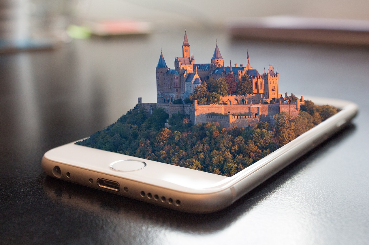 celular com castelo em 3d saindo da tela