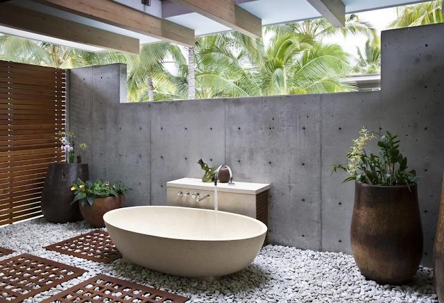 ห้องอาบน้ำ outdoor ตกแต่งง่ายๆ