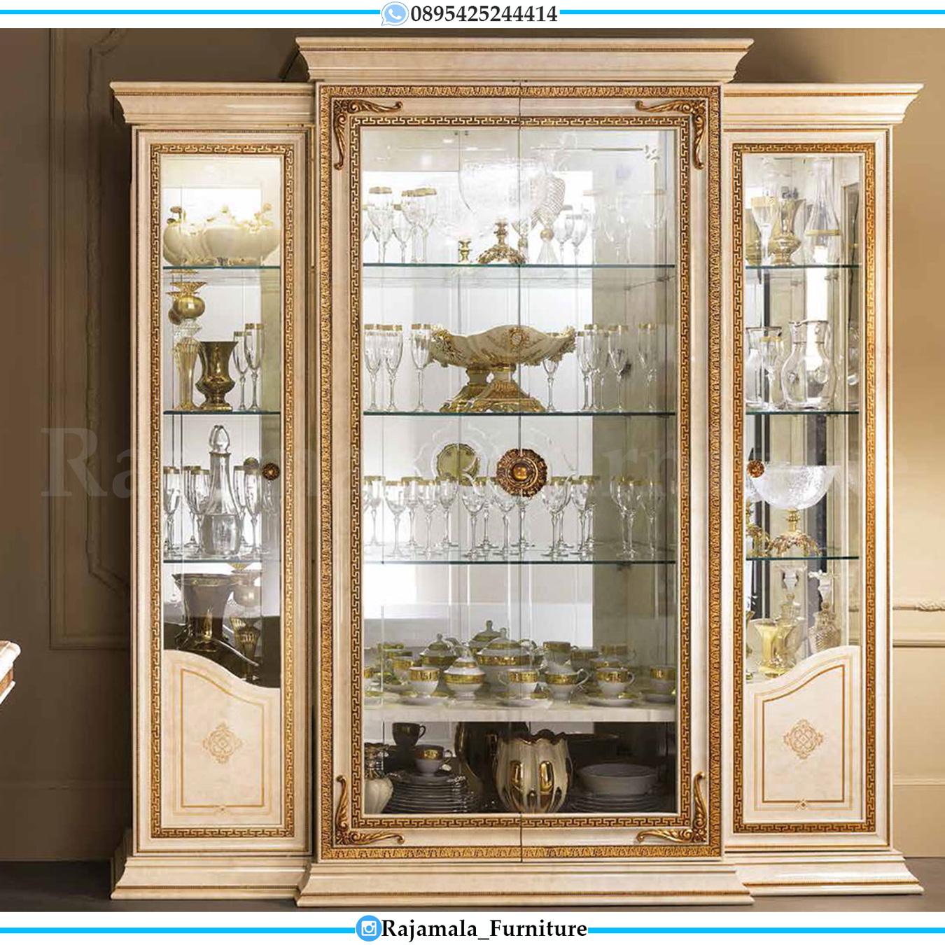 Lemari Pajangan Kaca Mewah Luxury Carving Jepara Terbaru RM-0034