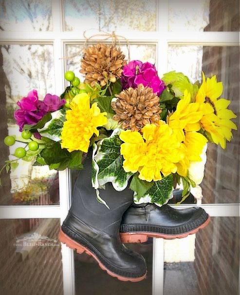 Inexpensive Rubber Rain Mud Boot Door Wreath Bliss-Ranch.com