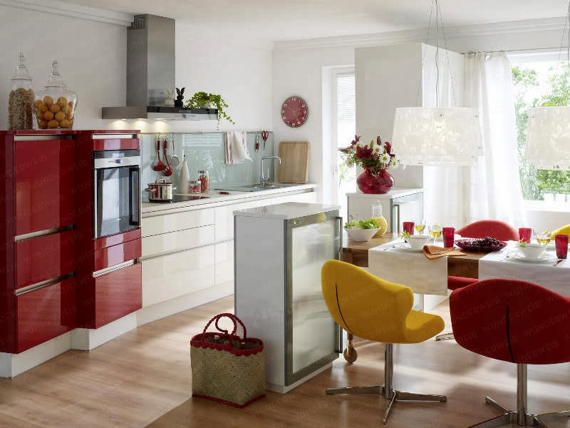 Cocinas color rojo y blanco colores en casa for Cocinas en color blanco