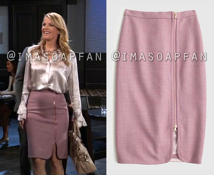 Nina Reeves, Michelle Stafford, Pink Wool Pencil Skirt with Exposed Zipper, General Hospital, GH
