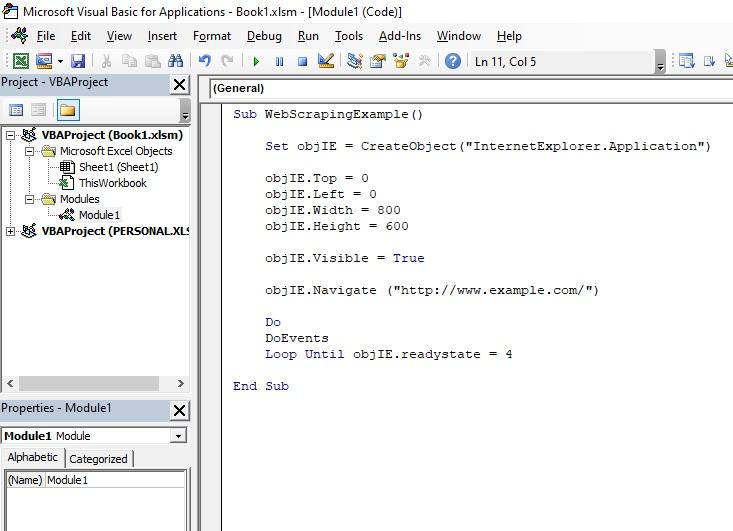 Web scraping vba code for Internet explorer
