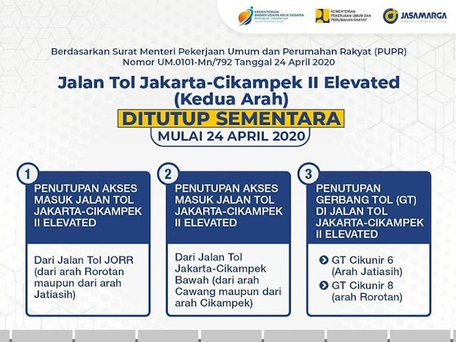 Jadwal dan Lokasi-Lokasi Penutupan Jalan Tol Jakarta-Cikampek II Elevated
