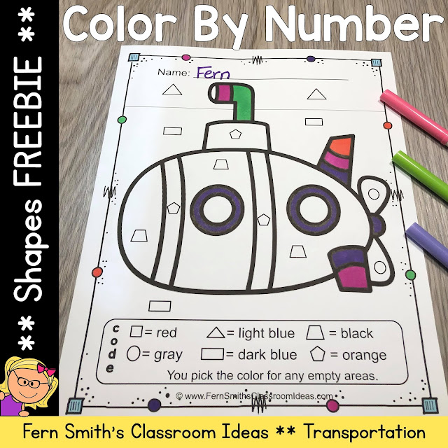 Click Here for This Color By Code Know Your Shapes Transportation Freebie!