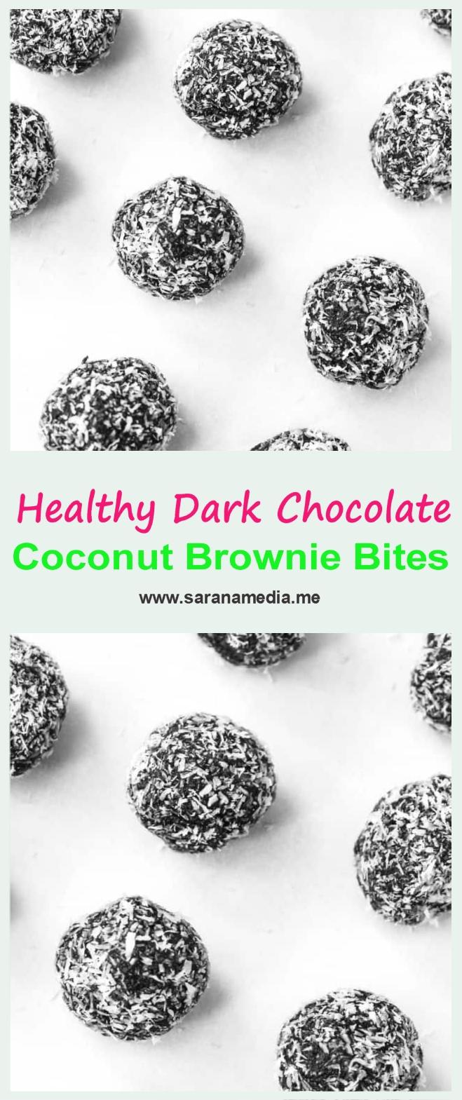 Healthy Dark Chocolate Coconut Brownie Bites