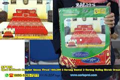 Sprei California Songket Queen Fitted 160×200 2 Sarung Bantal 2 Sarung Guling Merah Ornamen Batik Dewasa Katun