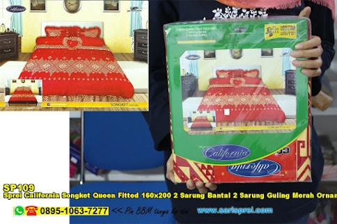 Sprei California Songket Queen Fitted 160x200 2 Sarung Bantal 2 Sarung Guling Merah Ornamen Batik Dewasa Katun
