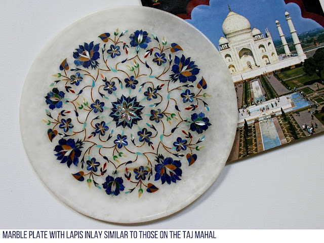 Marble plate with lapis lazuli sold outside Taj Mahal