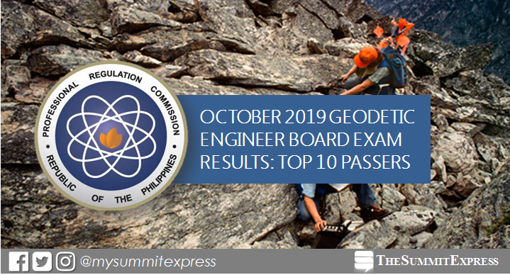 RESULT: October 2019 Geodetic Engineer board exam top 10 passers