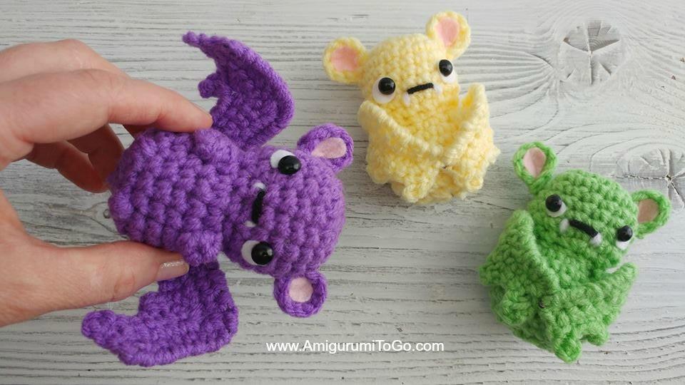 purple yellow green crochet bats pattern free