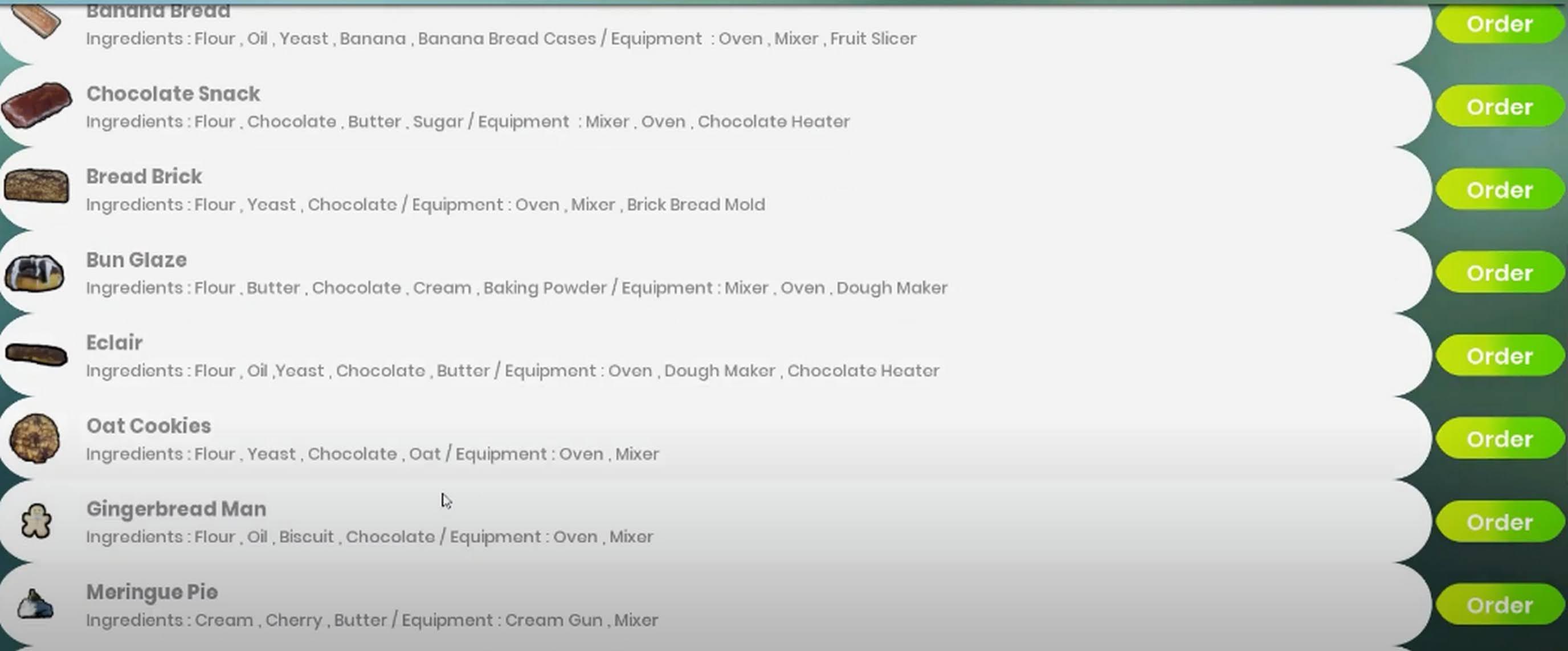 Bakery Shop Simulator Sipariş