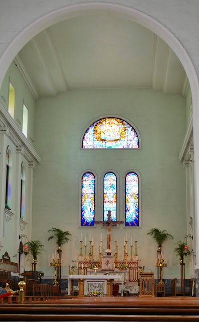 stained glass behind the altar at the Macau Cathedral