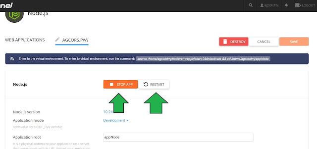 tombol stop dan restart web agc deploy nodejs di cPanel