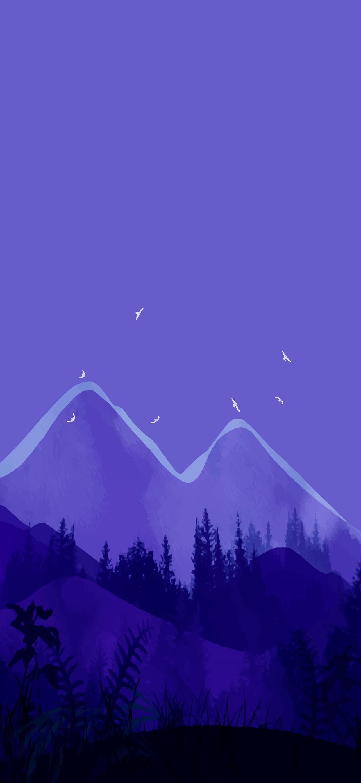 beautiful landscape art purple