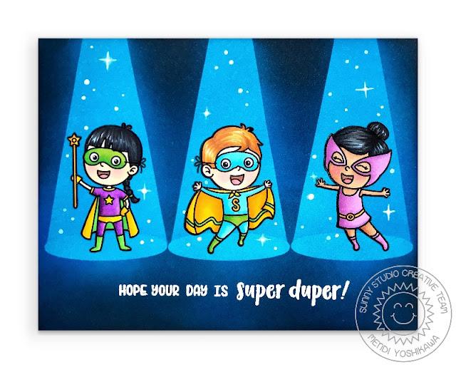 Sunny Studio Stamps Super Duper Superheros in Spotlight Handmade Card by Mendi Yoshikawa
