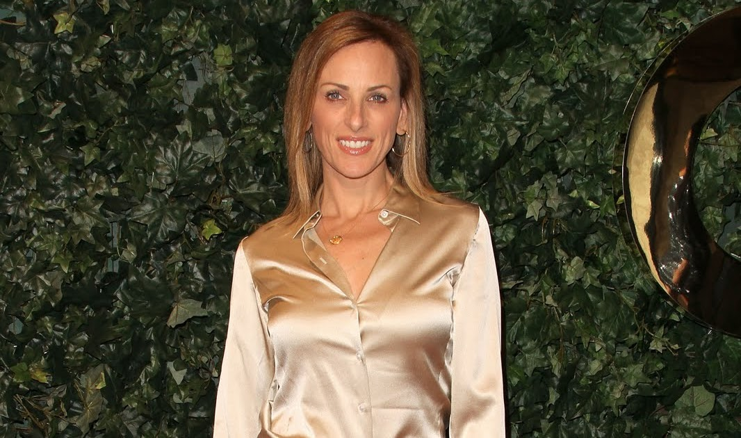 Ladies in Satin Blouses: marlee matlin - gold satin blouse