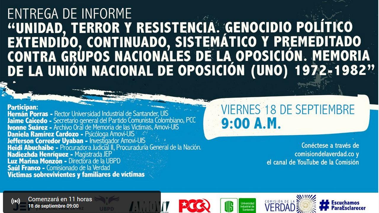 Entrega a la Comisión del informe 'Memoria de la Unión Nacional de Oposición (UNO) 1972-1982'