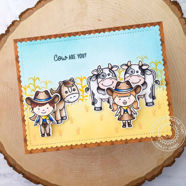 Sunny Studio Stamps: Little Buckaroo Farm Fresh Slimline Dies Frilly Frame Dies Farm Themed Cards by Ashley Ebben