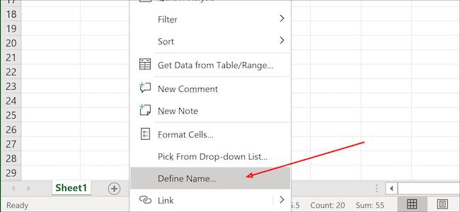 يحدد Excel الاسم