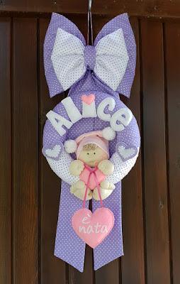 fiocco nascita bimna lilla cuore rosa