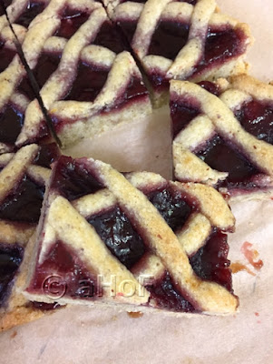 Raspberry Linzer Squares just cut