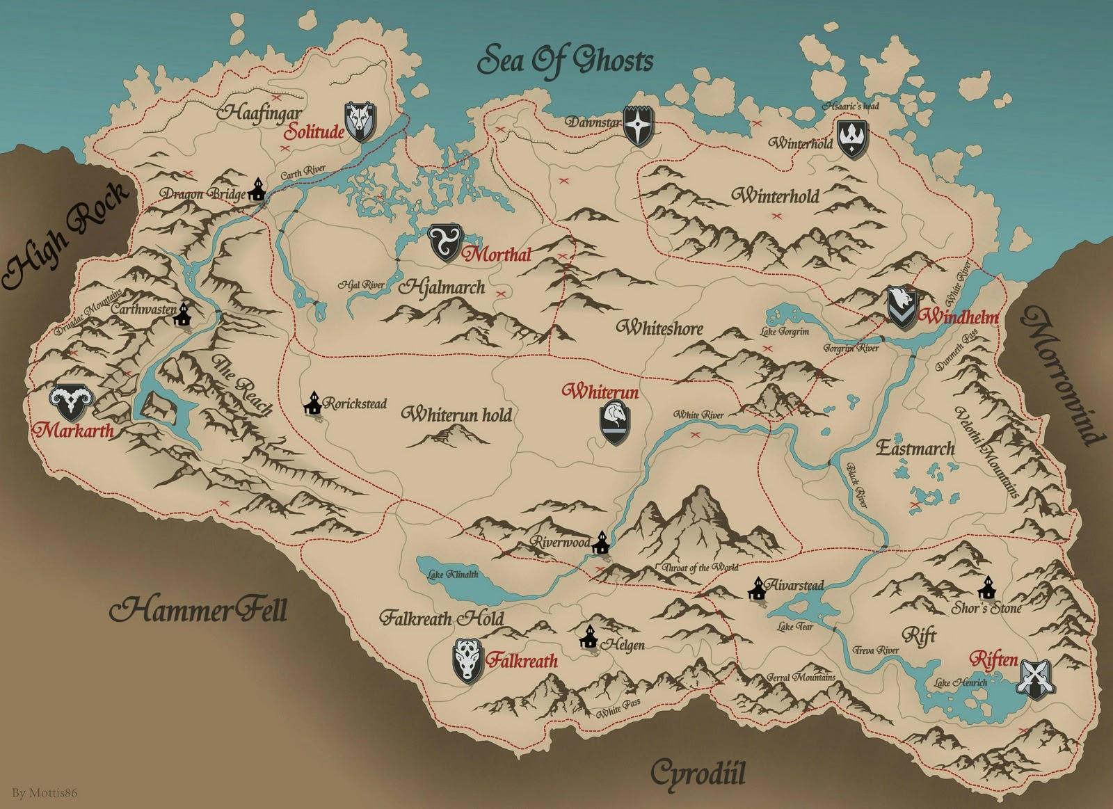 Video games: The Elder Scrolls V Skyrim HD map with treasure ...