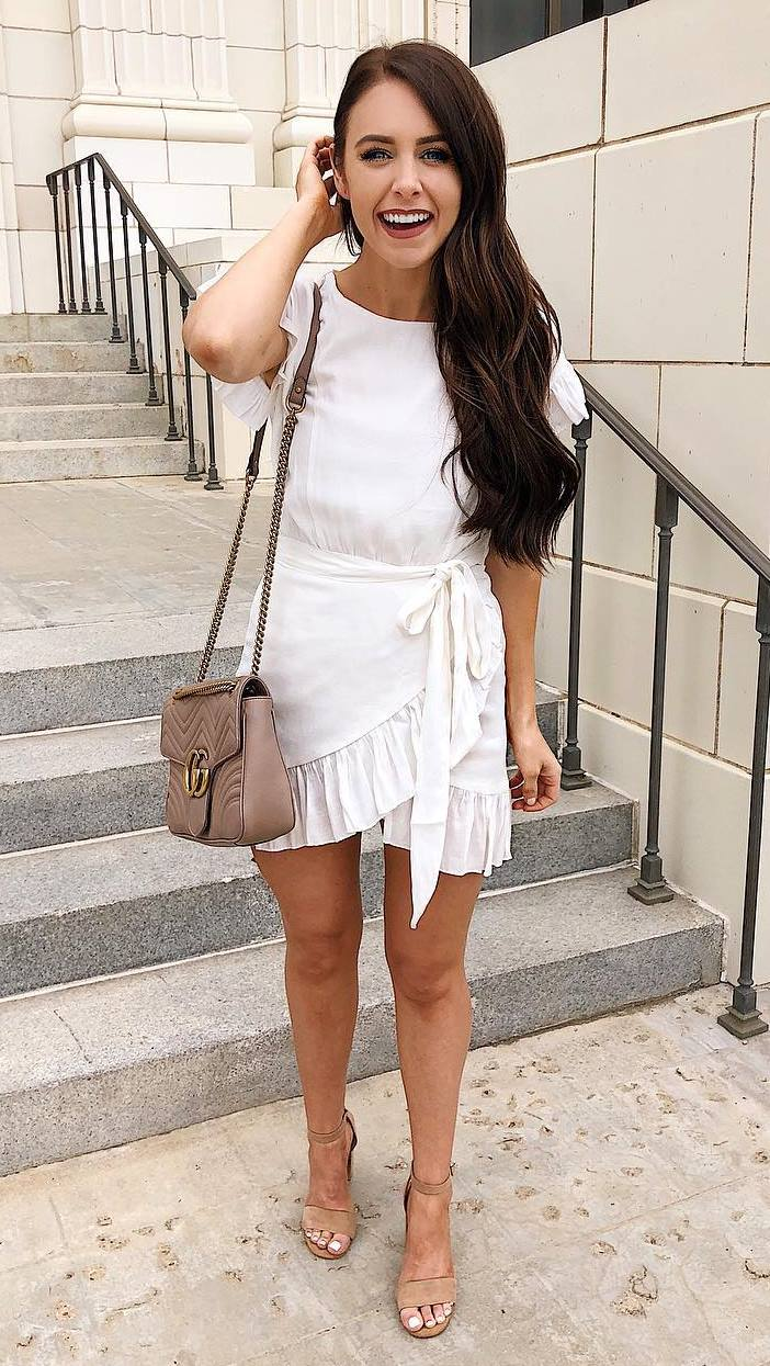 trendy outfit / white ruffle dress + bag + nude heels