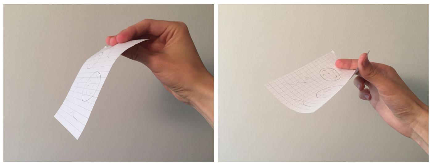 Toisessa kuvassa paperi lerppuu, toisessa kaareva paperi pysyy vaakatasossa.