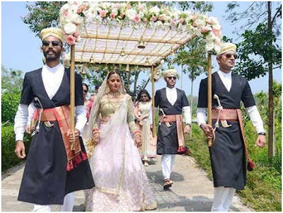 bride Nidhi walking to aisle