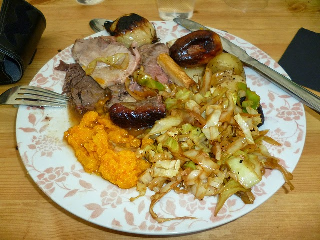 plate of food roast dinner cabbage gravy