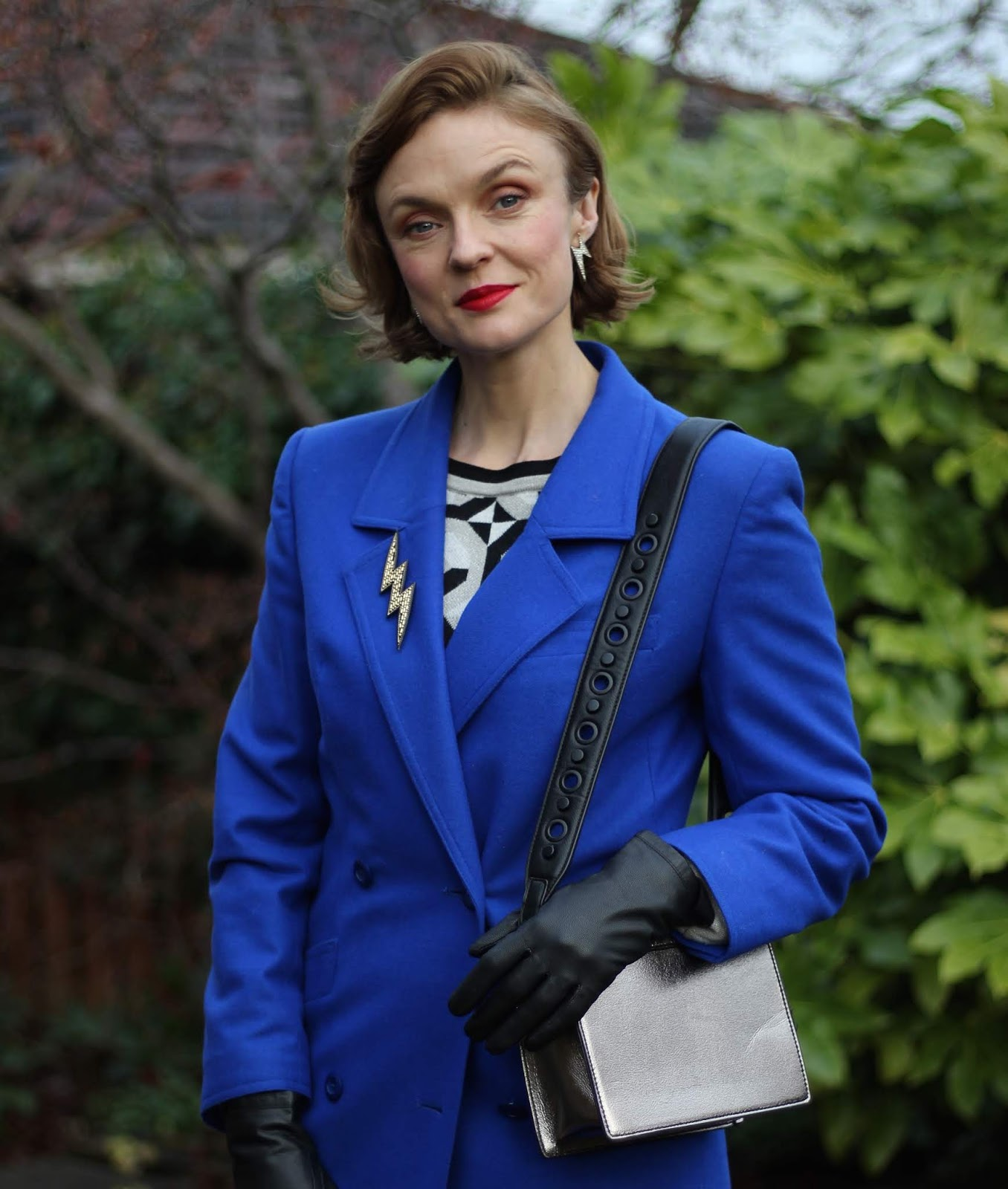 Cobalt Blue Coat, Black Leather Pleated Skirt | Fake Fabulous