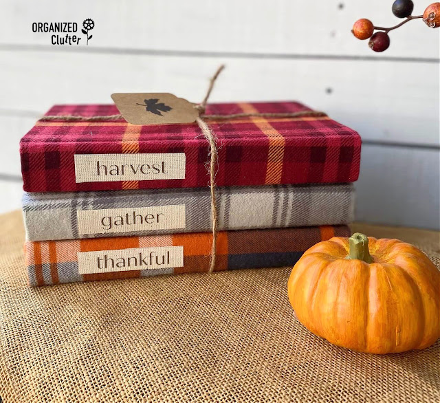 Photo of books covered with plaid flannel fabric.