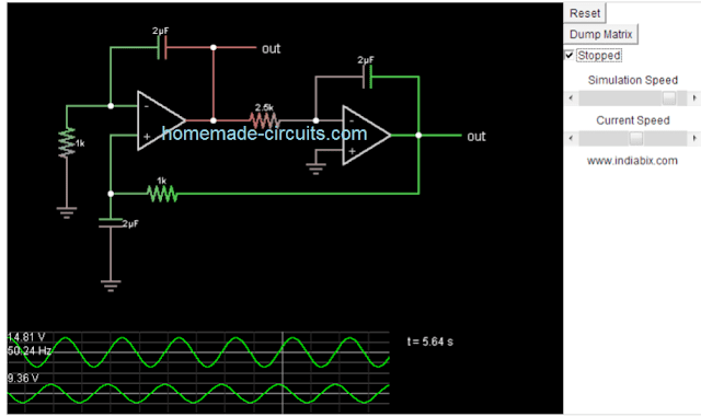 simulating a 2 opamp TL072 based sinewave generator circuit