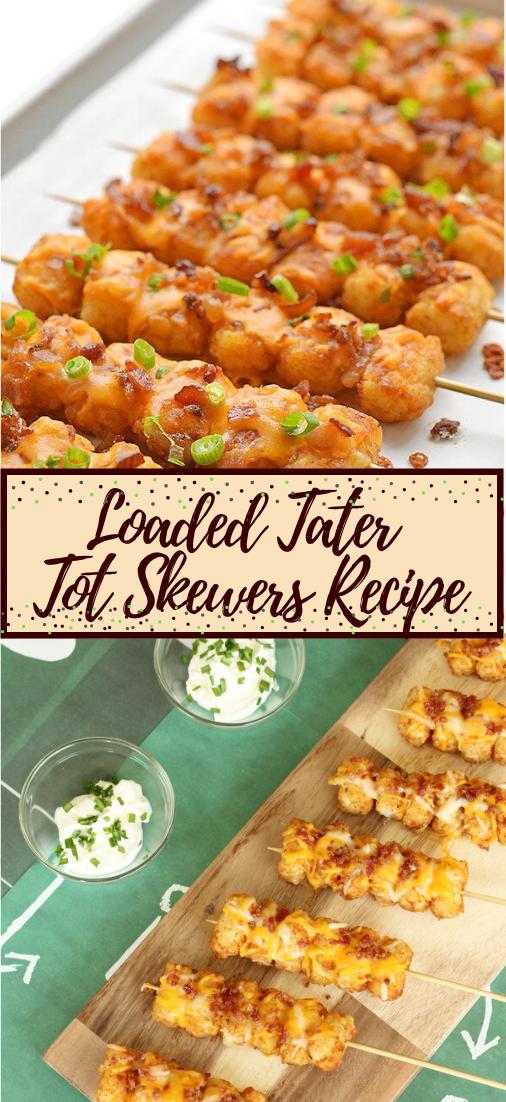 Loaded Tater Tot Skewers Recipe #healthyfood #dietketo #breakfast #food