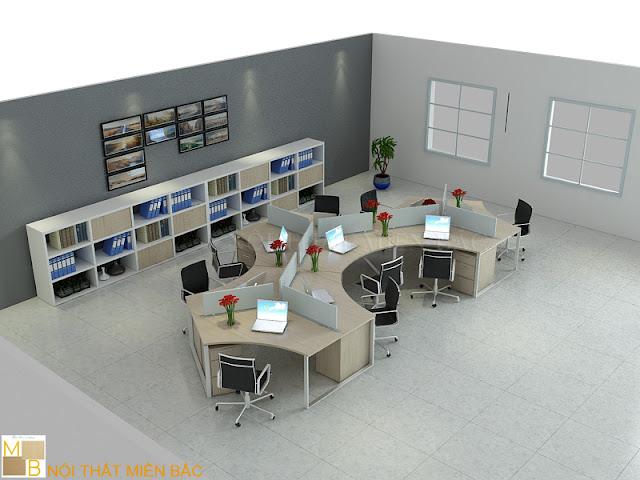 Mẫu bàn làm việc veneer này được tạo nên bởi những đường cong mềm mại đầy tinh tế cho không gian văn phòng