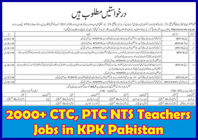 Educators Jobs in KPK NTS Application Form