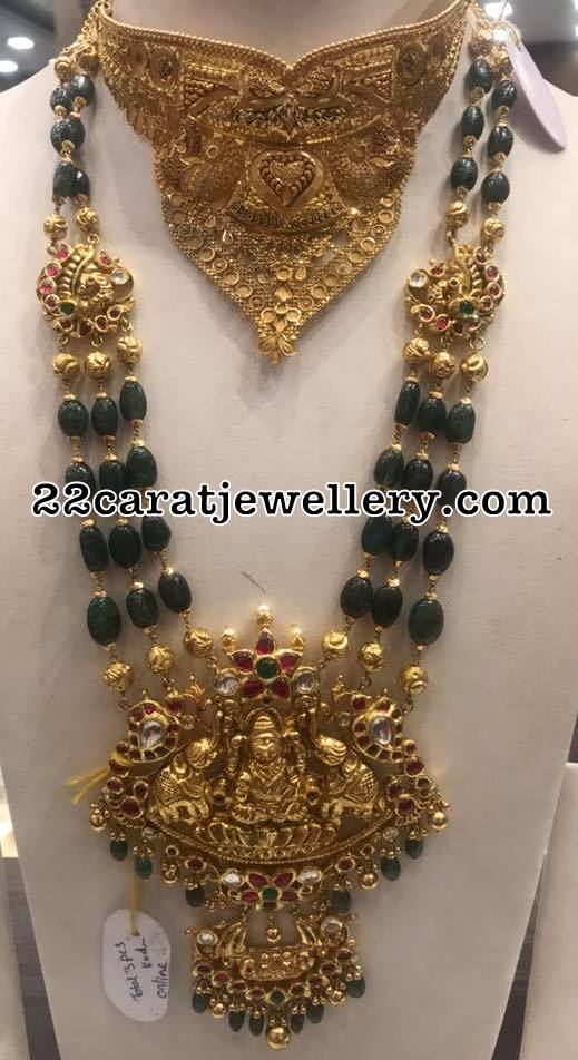 Three Layer Emerald Beads Set with Peacock