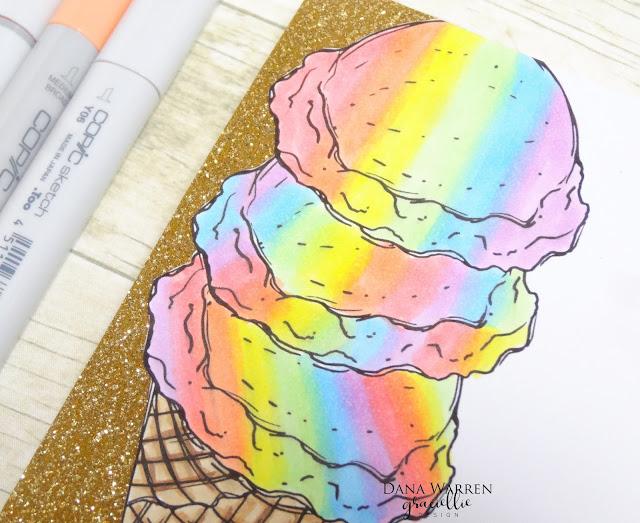 Dana Warren - Kraft Paper Stamps - Graciellie Designs - Ice Cream