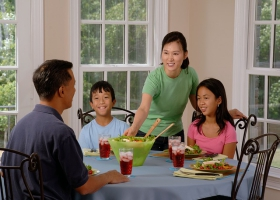 Showing consideration at a family table.