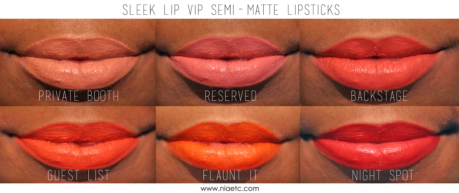 Sleek MakeUp Semi Matte Lipstick Lip VIP Lip Swatches