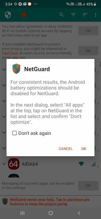تعطيل تحسين البطارية لـ NetGuard