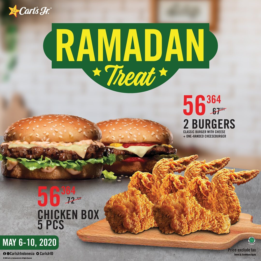 Promo Carl's Jr 5 PCS Chicken Box - 2 Burger Rp 56.364 Berlaku 6 - 10 Mei 2020
