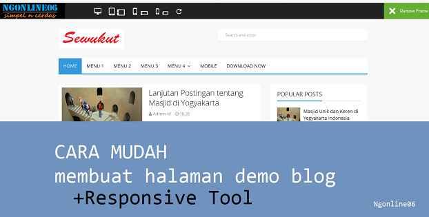 cara mudah membuat halaman demo template blog responsive tooll