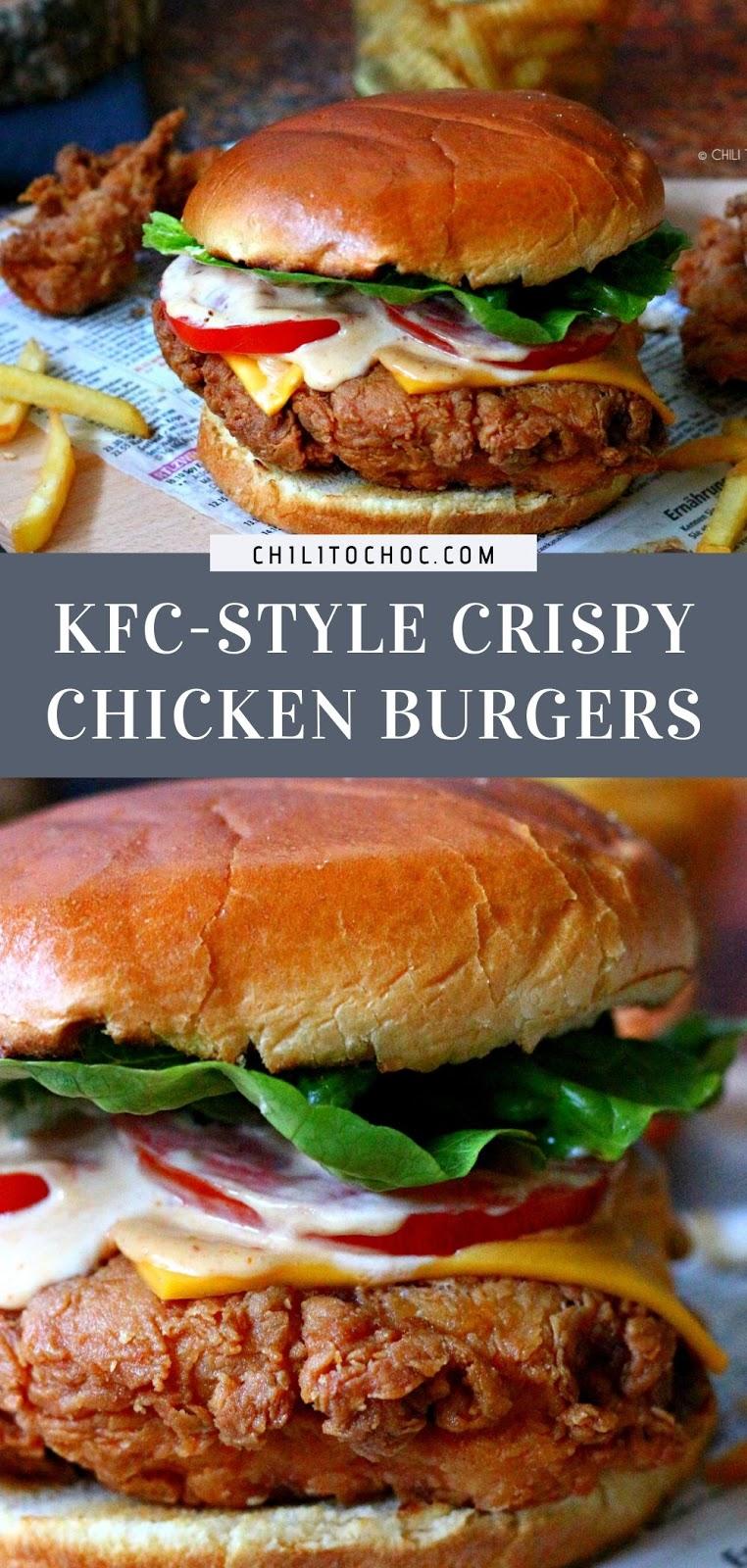 KFC-Style Crispy Chicken Burger (Zinger Burger) - pinterest