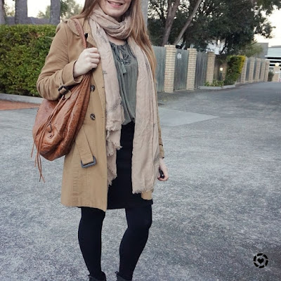 awayfromblue instagram neutral beige khaki black boho tank pencil skirt Balenciaga day bag outfit