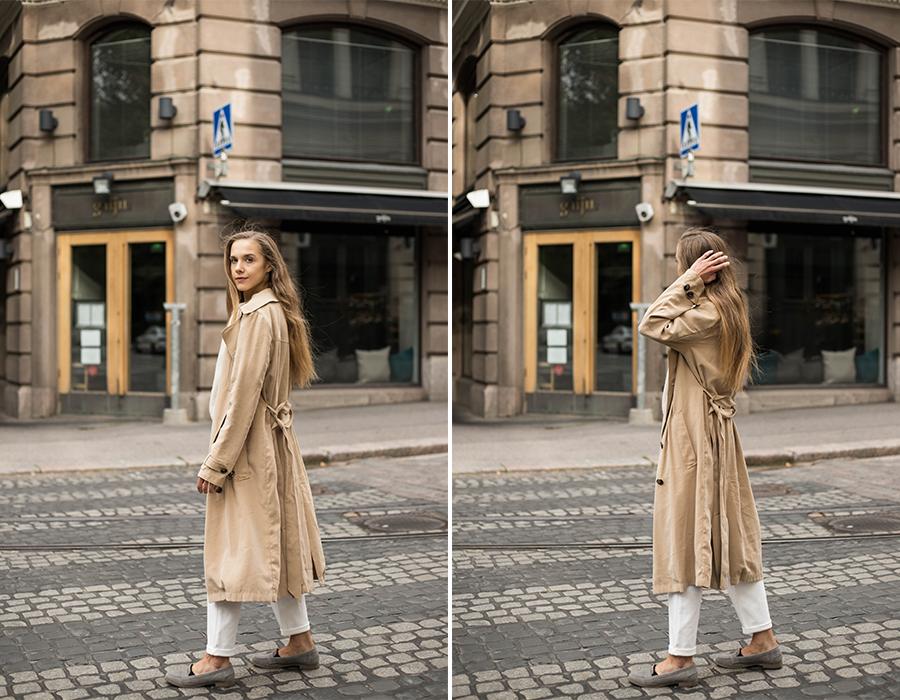 Neutraali asukokonaisuus syksyyn, kuinka pukea liehuva trenssi // Neutral autumn outfit, how to wear floaty trench coat